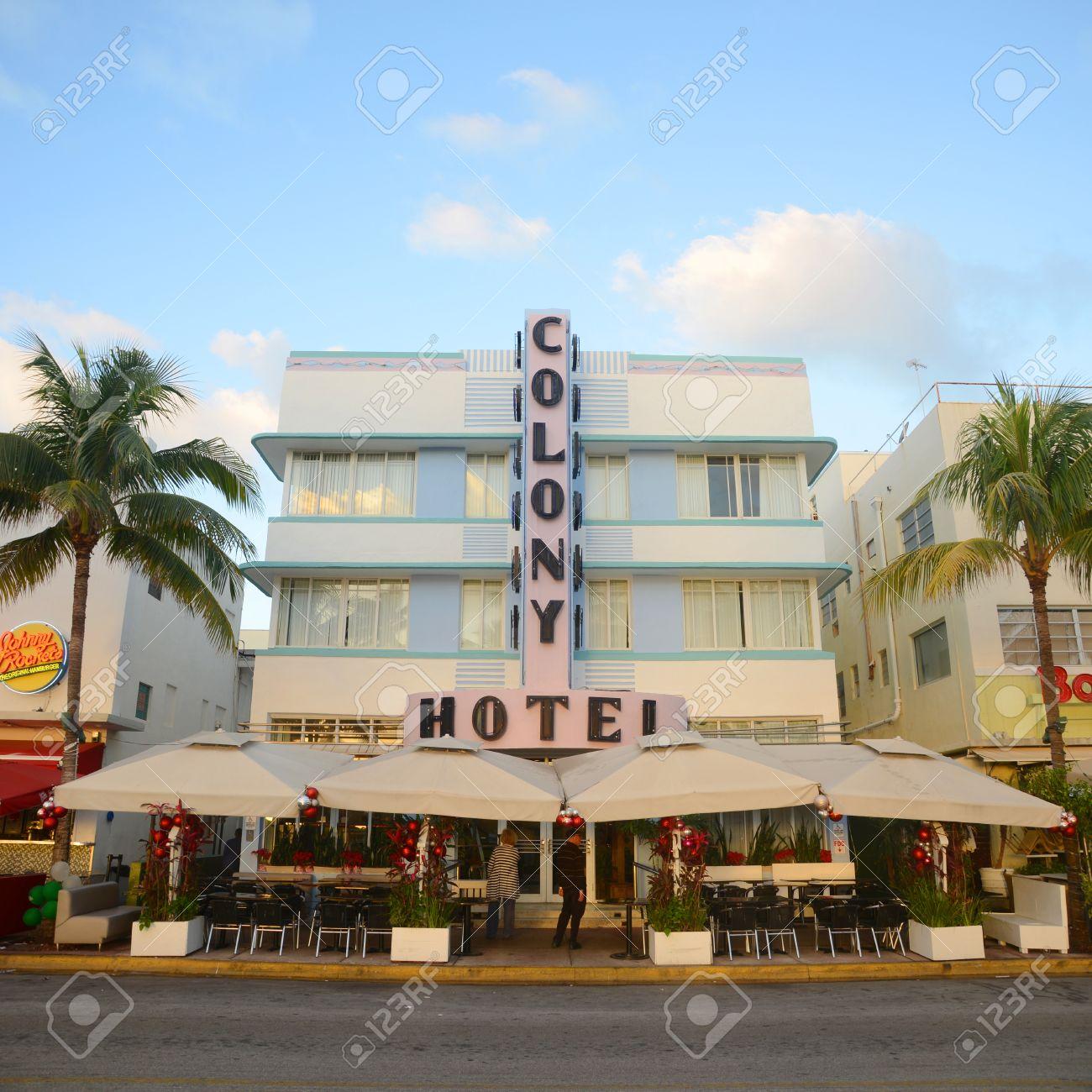 colony building with art deco style in miami beach miami florida