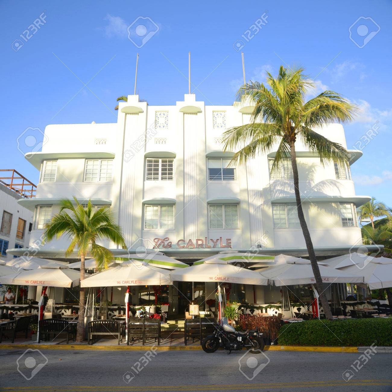 carlyle hotel with art deco style building in miami beach in stock