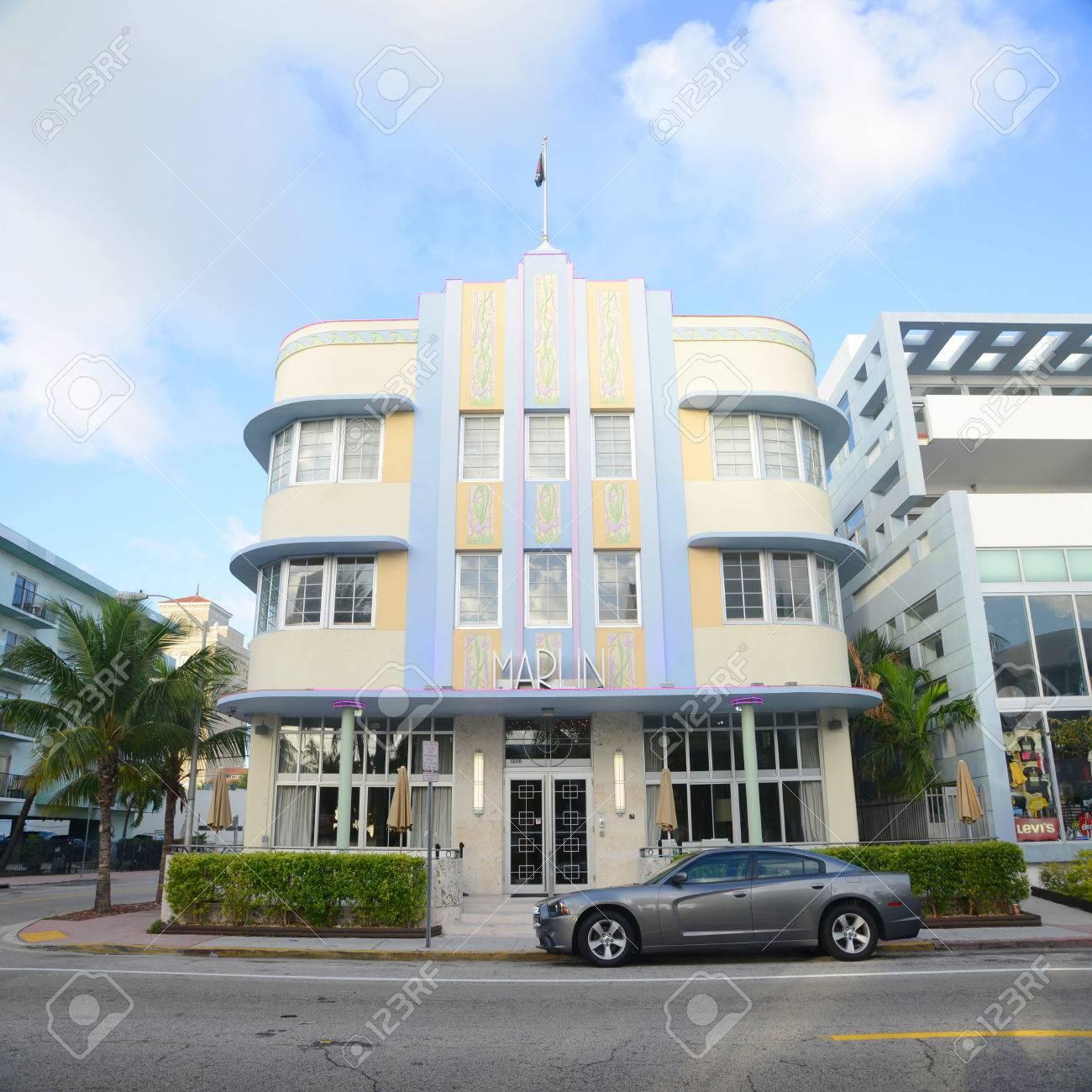 Art Deco Architektur | Marlin Hotel Mit Art Deco Stil Gebaude In Miami Beach Miami