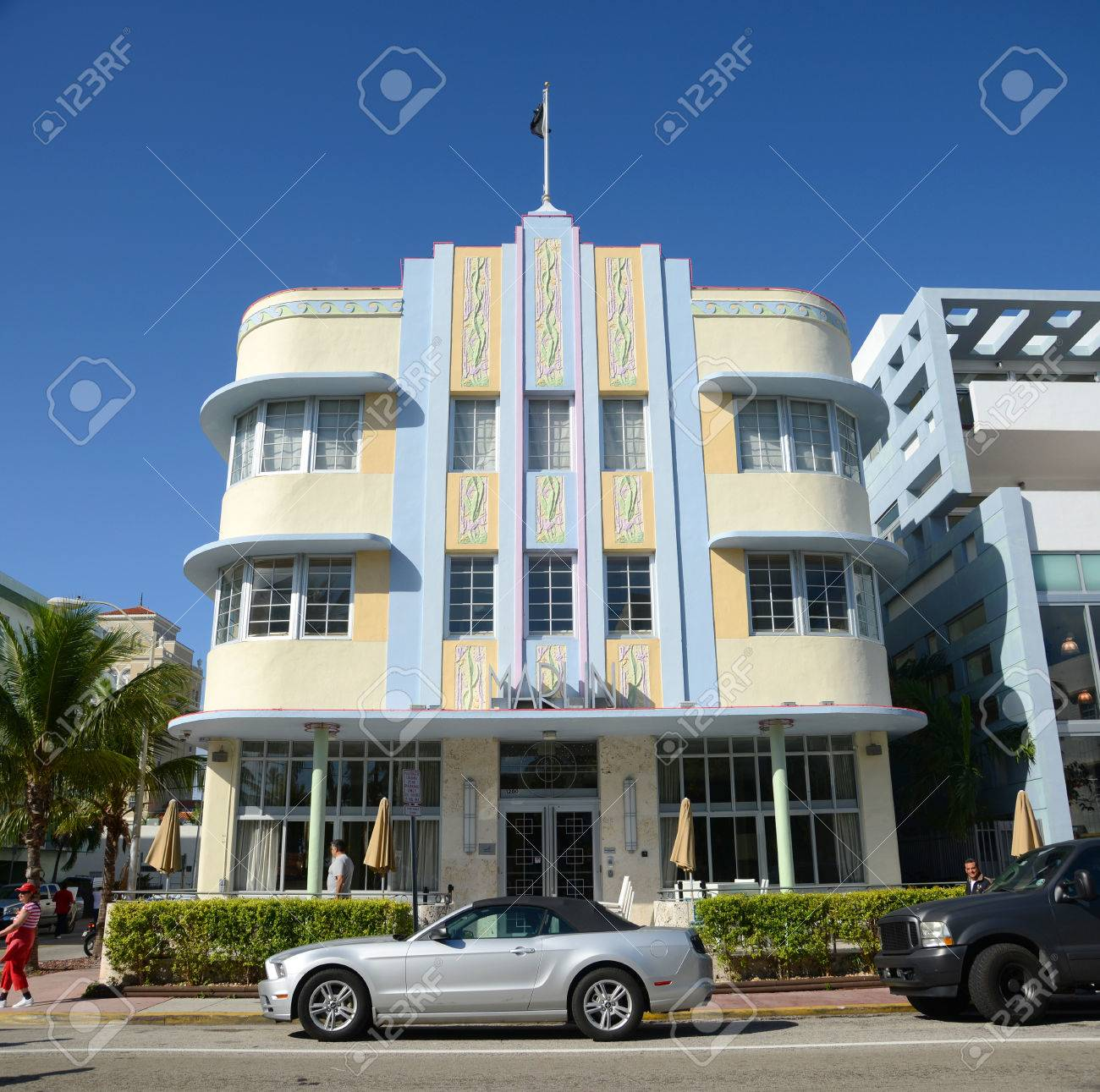 art deco style building marlin hotel in miami beach in the morning