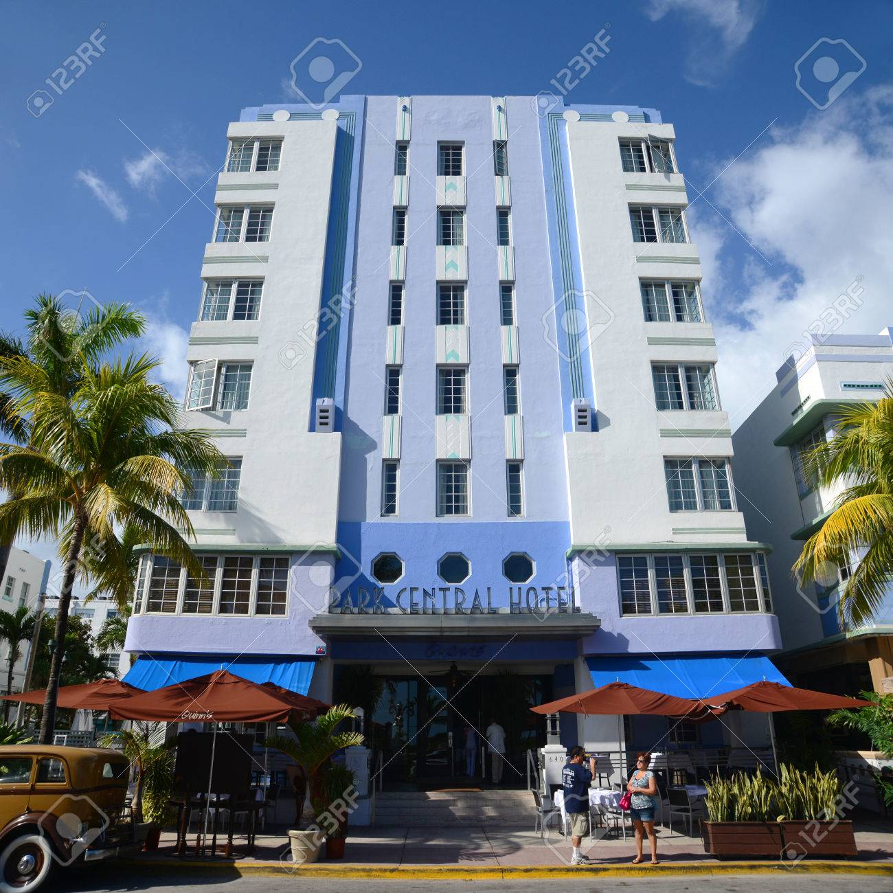 Art Deco Style Building Park Central On Ocean Drive In South Stock Photo Picture And Royalty Free Image Image 38089156