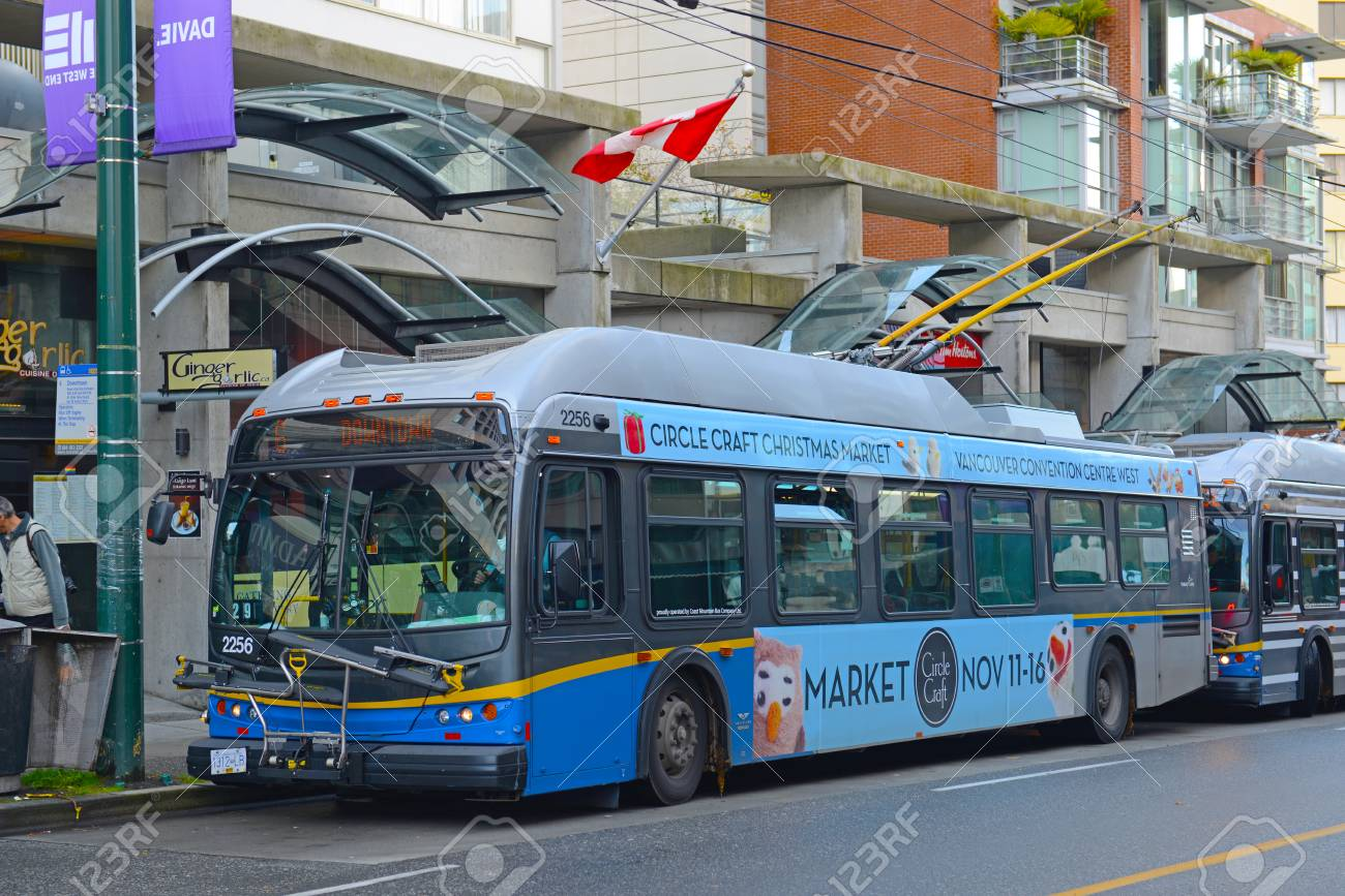 Stock P O Vancouver Trolley Bus Route 6 On Davie Street In Downtown Vancouver British Columbia Canada