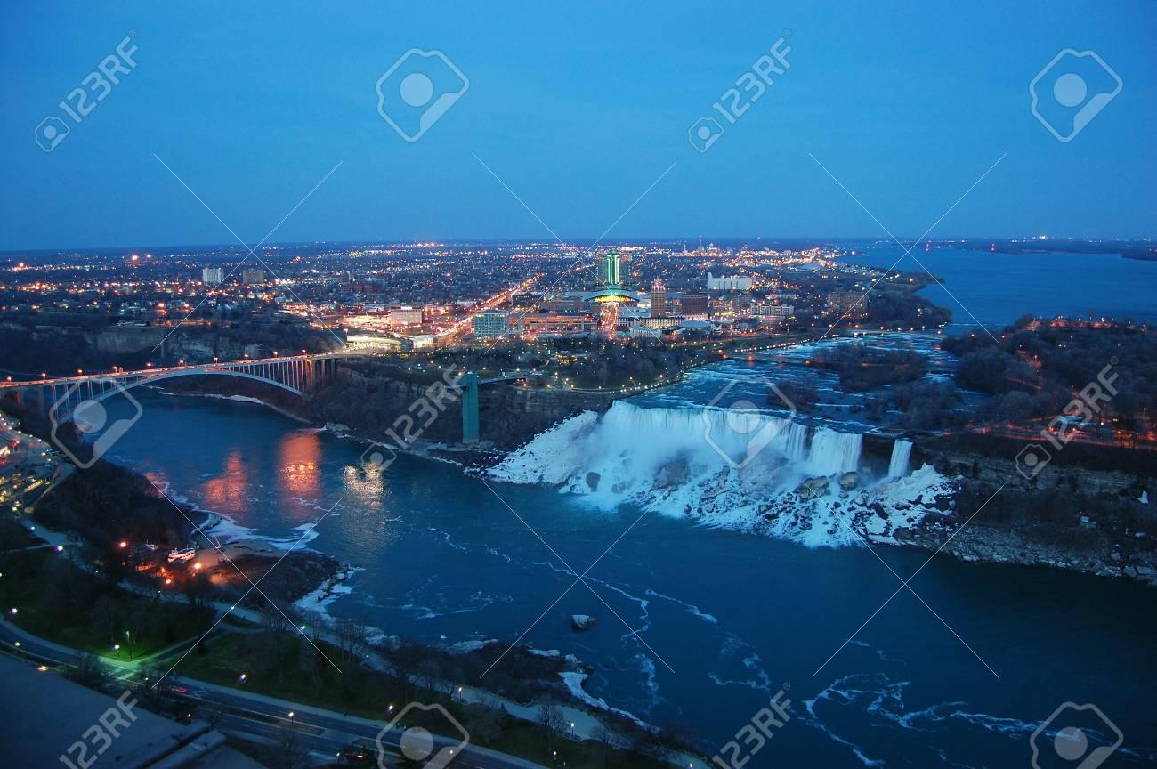 Aerial View Of Rainbow Bridge And American Falls Of Niagara Falls