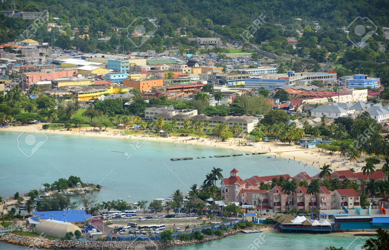 Ocho Rios aerial view from the top of Mystic Mountain, Jamaica. - 157439950