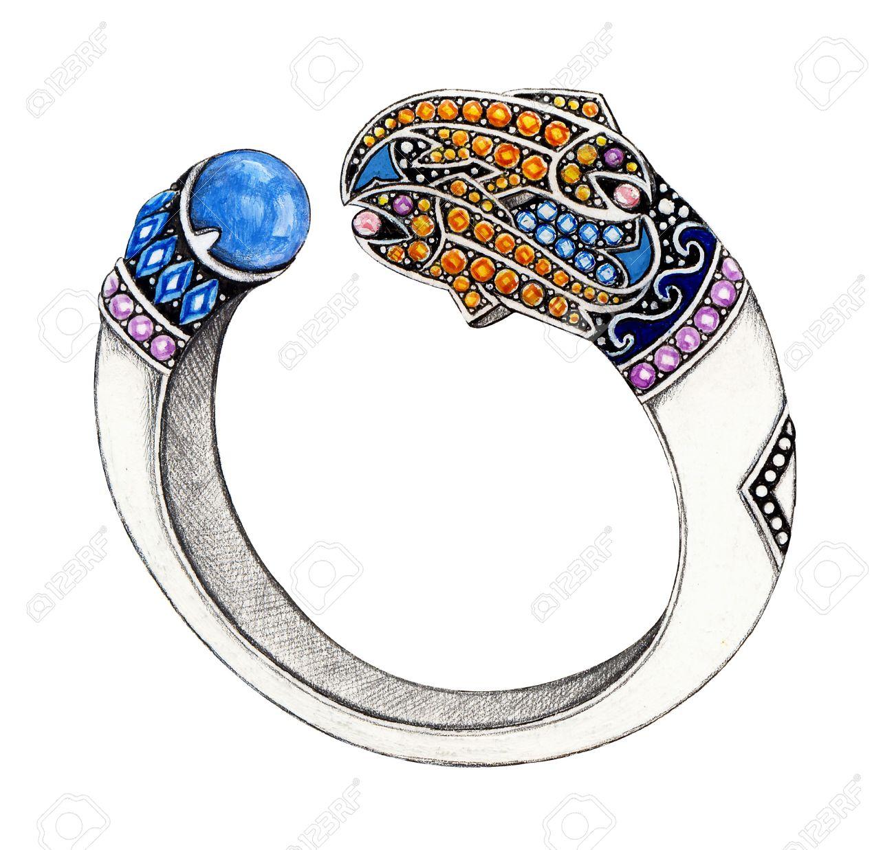 Bijoux Dessin poissons bracelet. dessin à la main et la peinture sur la conception