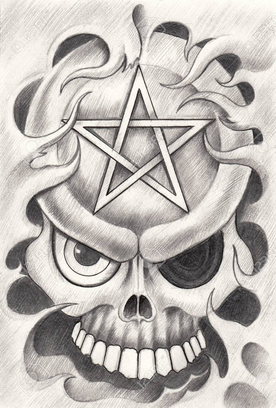Art Skull Pentagram Tattoo Hand Drawing On Paper Stock Photo