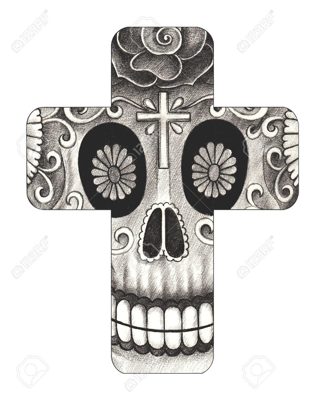 Arte Cráneo Cruz Día De Los Muertos Mano Dibujo A Lápiz Sobre Papel