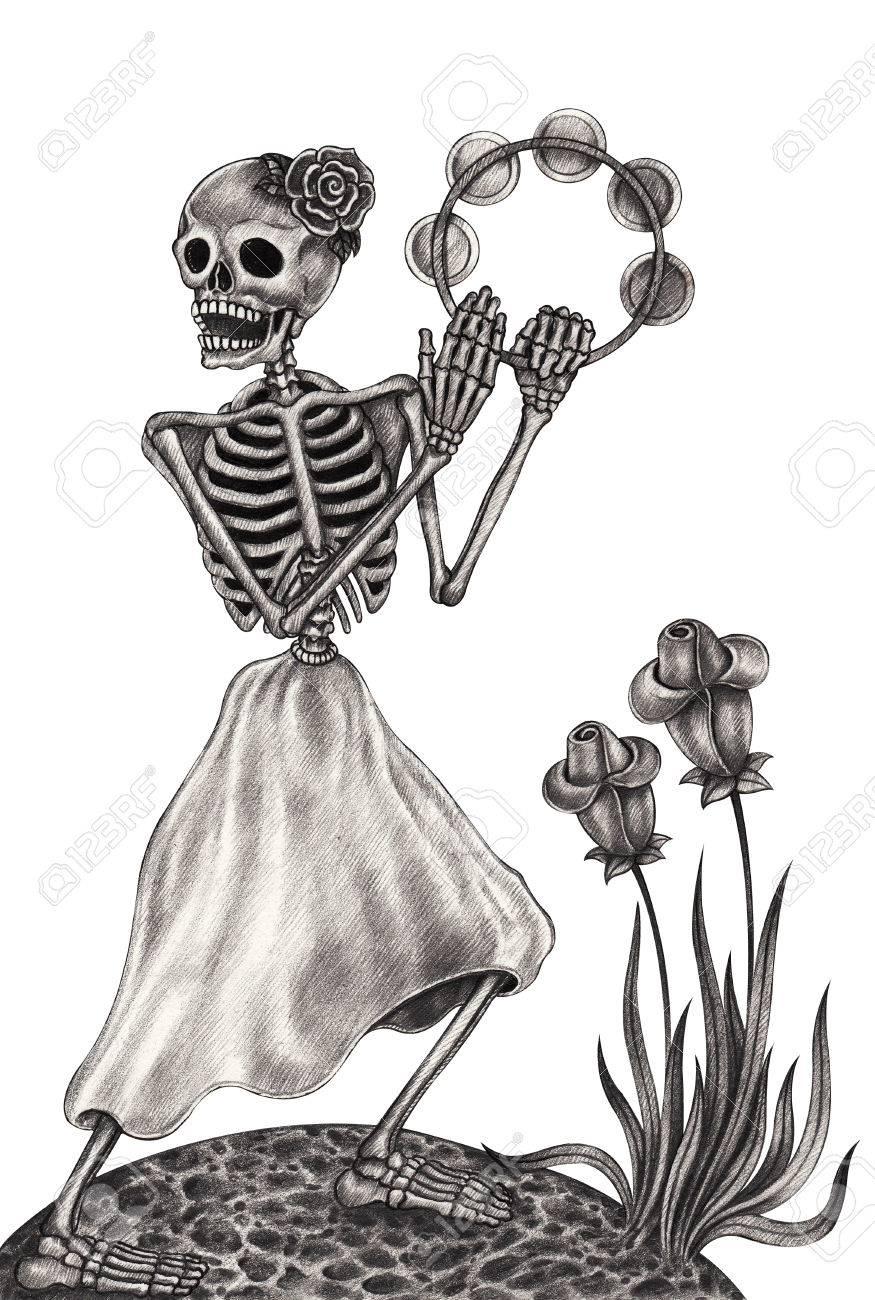 Cráneo Musicday Danza Arte De Los Muertos Festivalhand Dibujo A Lápiz Sobre Papel