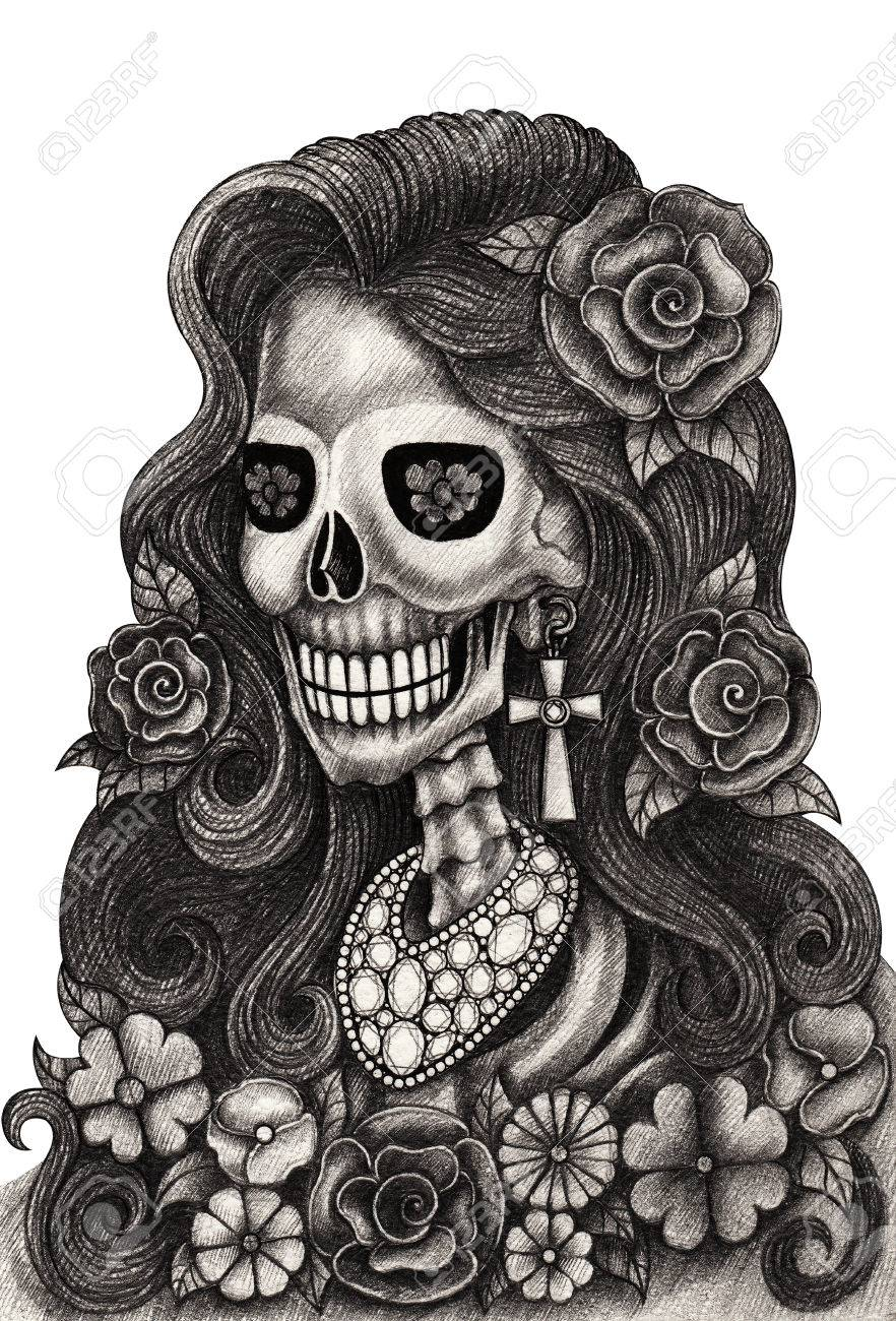 Skull art fashion jewelryday of the dead festival hand pencil drawing on paper stock