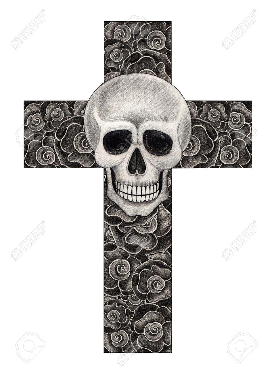 Cráneo Cruz Arte Rosa Dibujo A Lápiz A Mano Sobre Papel Fotos