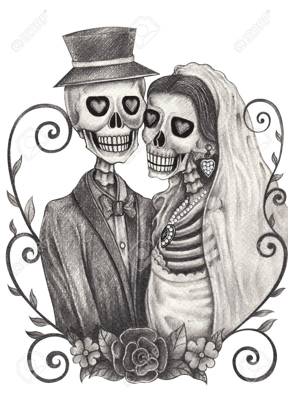 Cráneo Día De La Boda Del Arte De Los Muertos Festivalhand Dibujo A