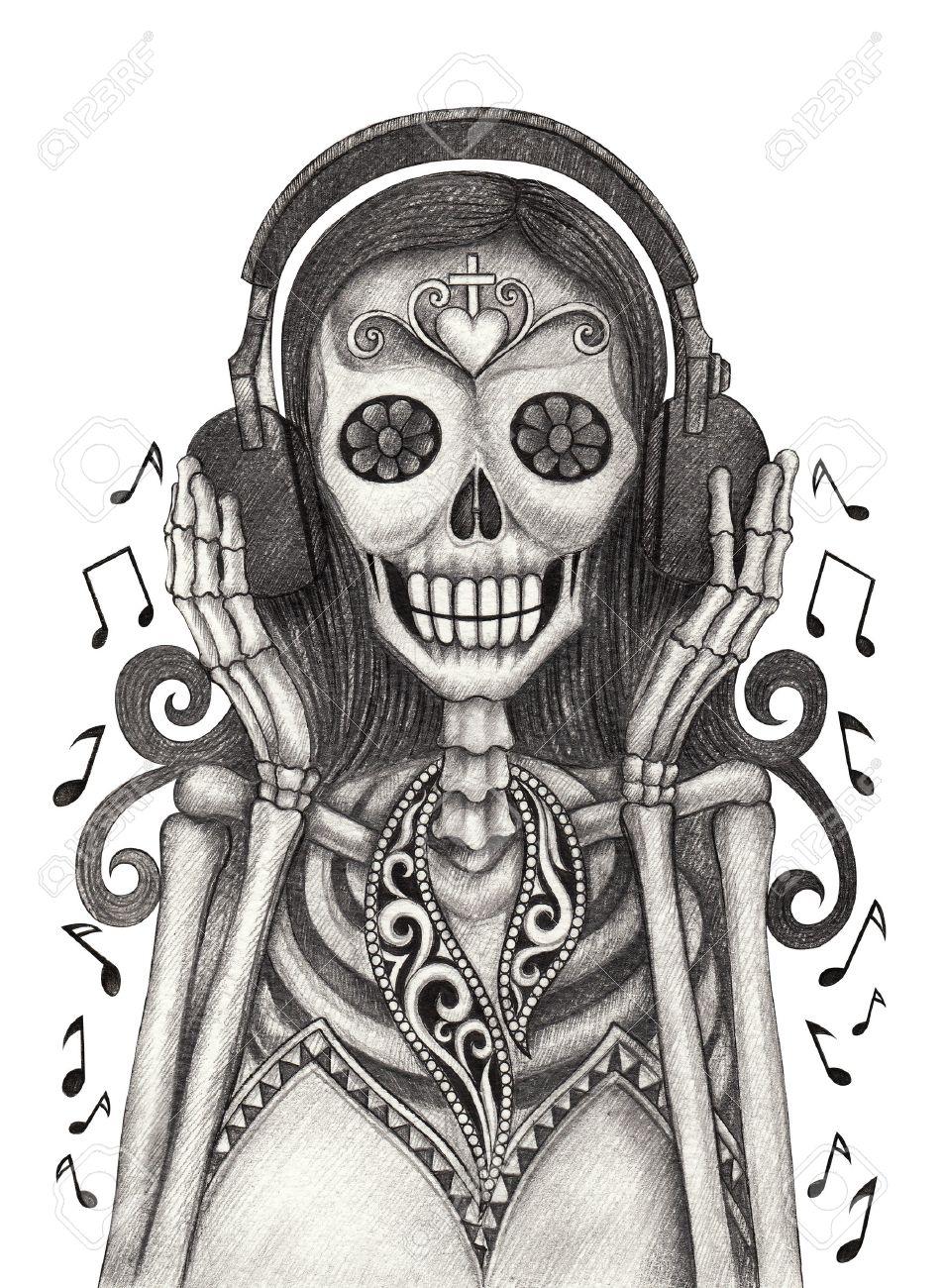 Arte Cráneo Escuche Día La Música Del Dibujo Muertos Lápiz Festival