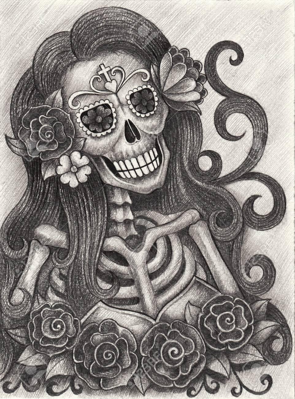 Femmes Crane Art Jour Du Crayon De Main Morte Dessin Sur Papier