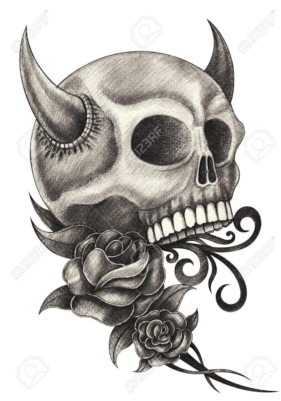 Skull Devil Tattoo Hand Pencil Drawing On Paper