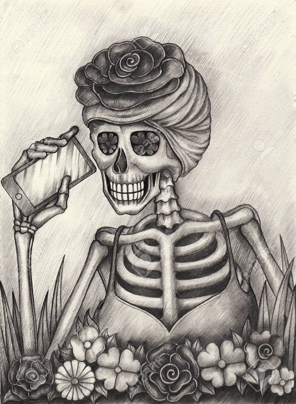 Stock photo women skull art day of the dead festival hand pencil drawing on paper