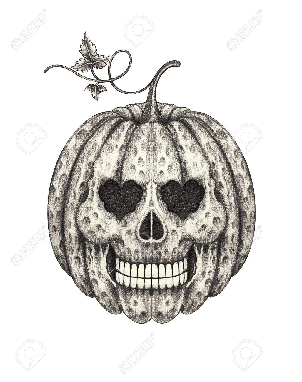 Skull Head Pumpkin Halloween Hand Pencil Drawing On Paper Stock