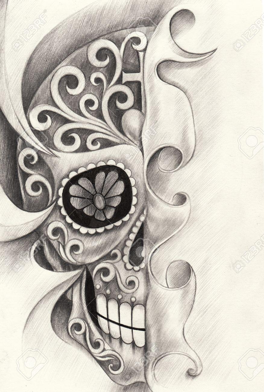 Cráneo Día Arte Del Tatuaje Del Festival Muerto Mano Dibujo A Lápiz