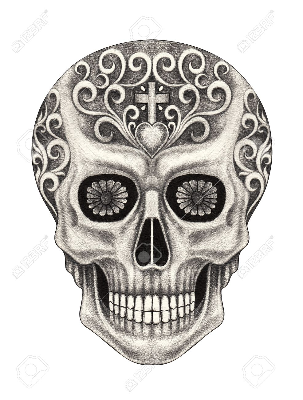 Head Skull Art Day Of The Dead Festival Hand Pencil Drawing Stock Photo Picture And Royalty Free Image Image 41434428