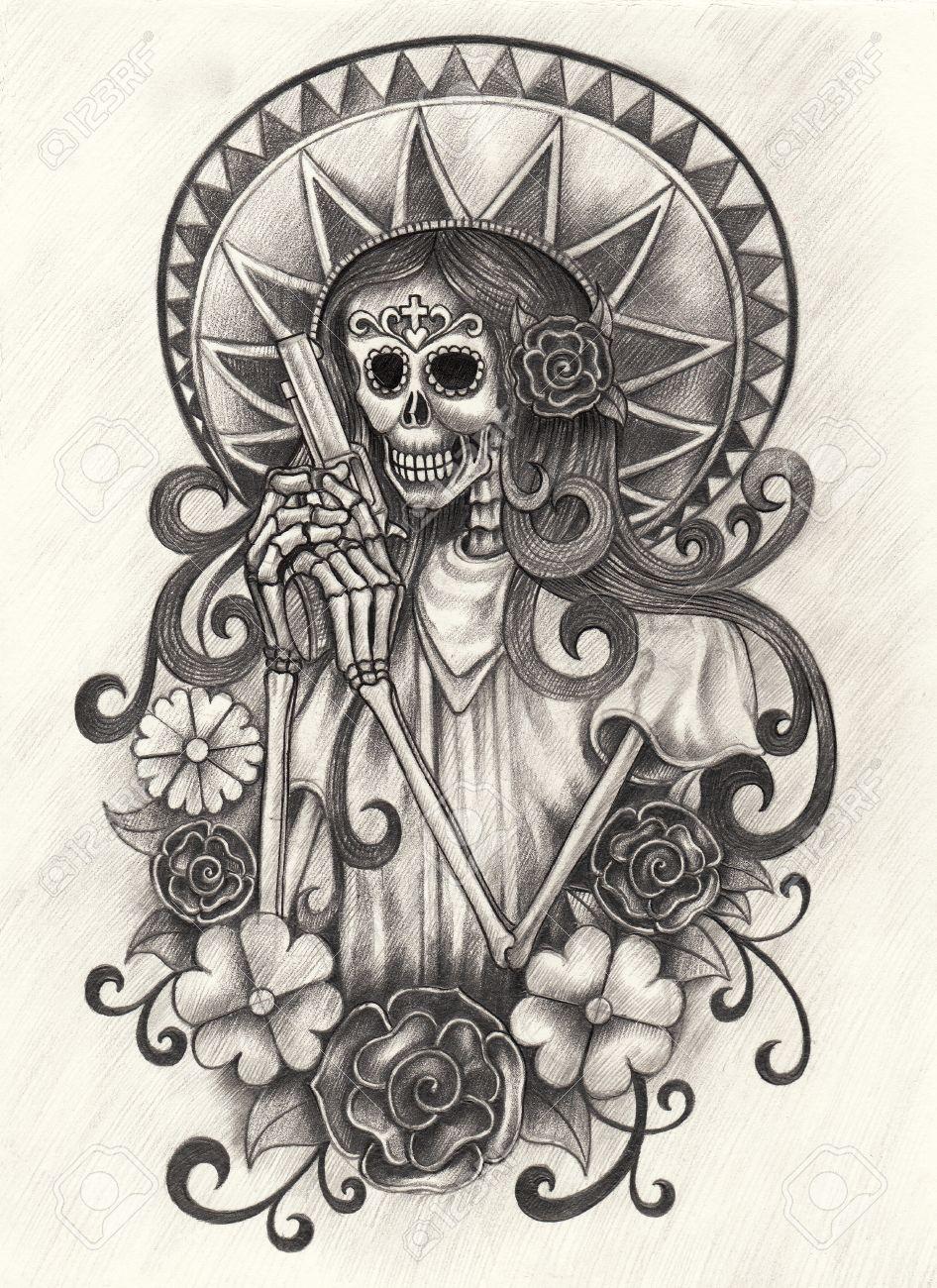 Mujeres Cráneo Día El Arte Del Festival Muerto Hand Dibujo A Lápiz