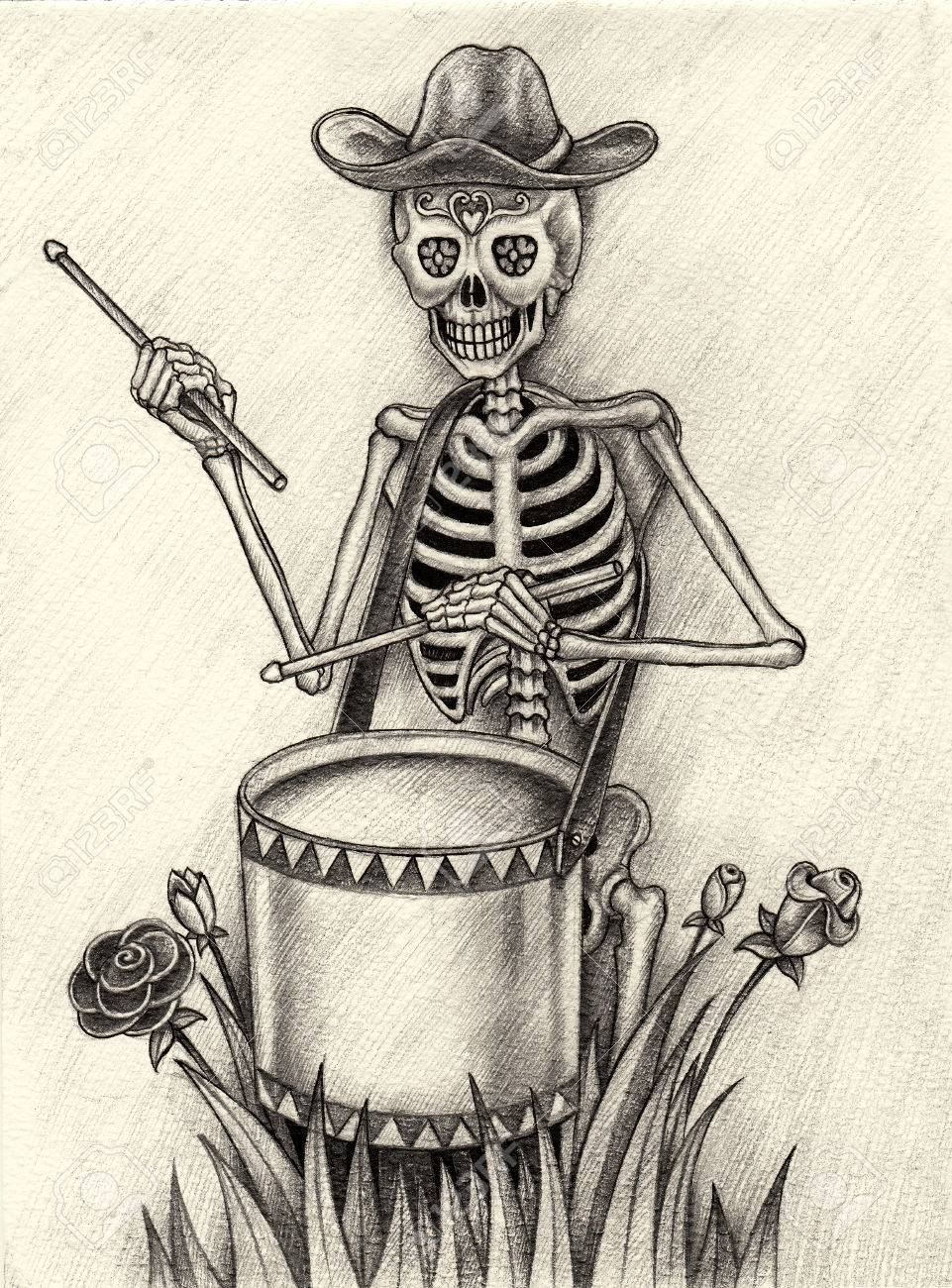 Skull playing drum day of the dead festival hand pencil drawing on paper stock