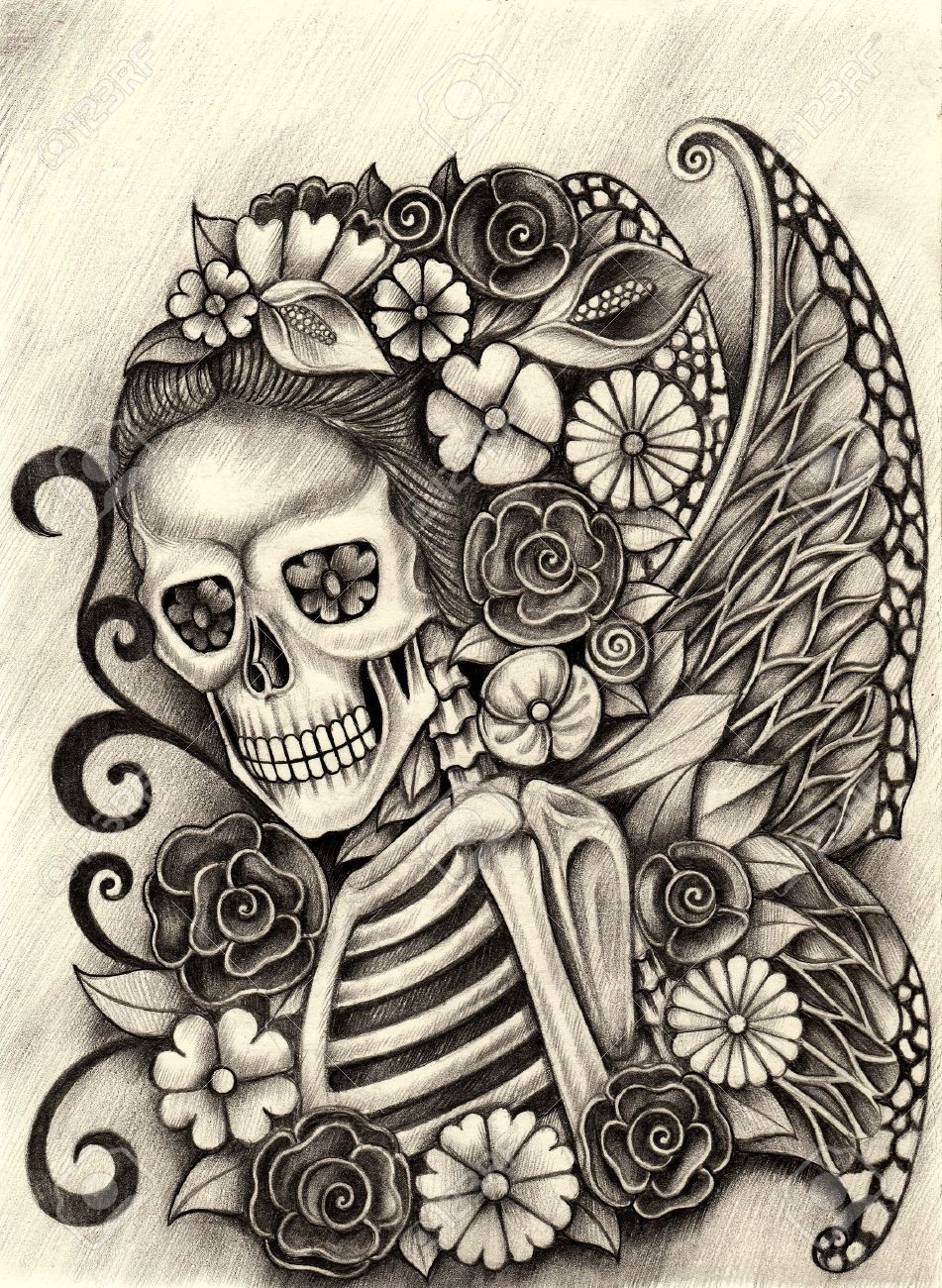 Stock photo women skull fairy art day of the dead hand pencil drawing on paper