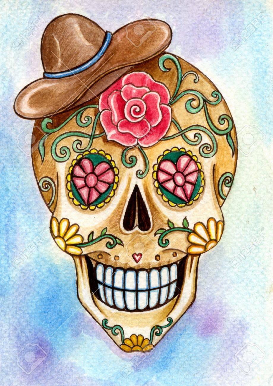 Skull Art Day Of The Dead Festival Hand Watercolor Painting On Stock Photo Picture And Royalty Free Image Image 44416389
