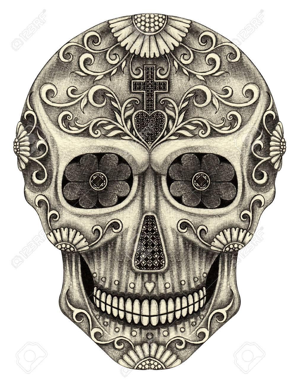 Día Del Cráneo Del Arte De Los Muertos Mano Dibujo A Lápiz Sobre