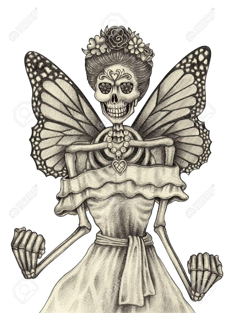 Día Hada Del Cráneo De Los Muertos Mano Dibujo A Lápiz Sobre Papel