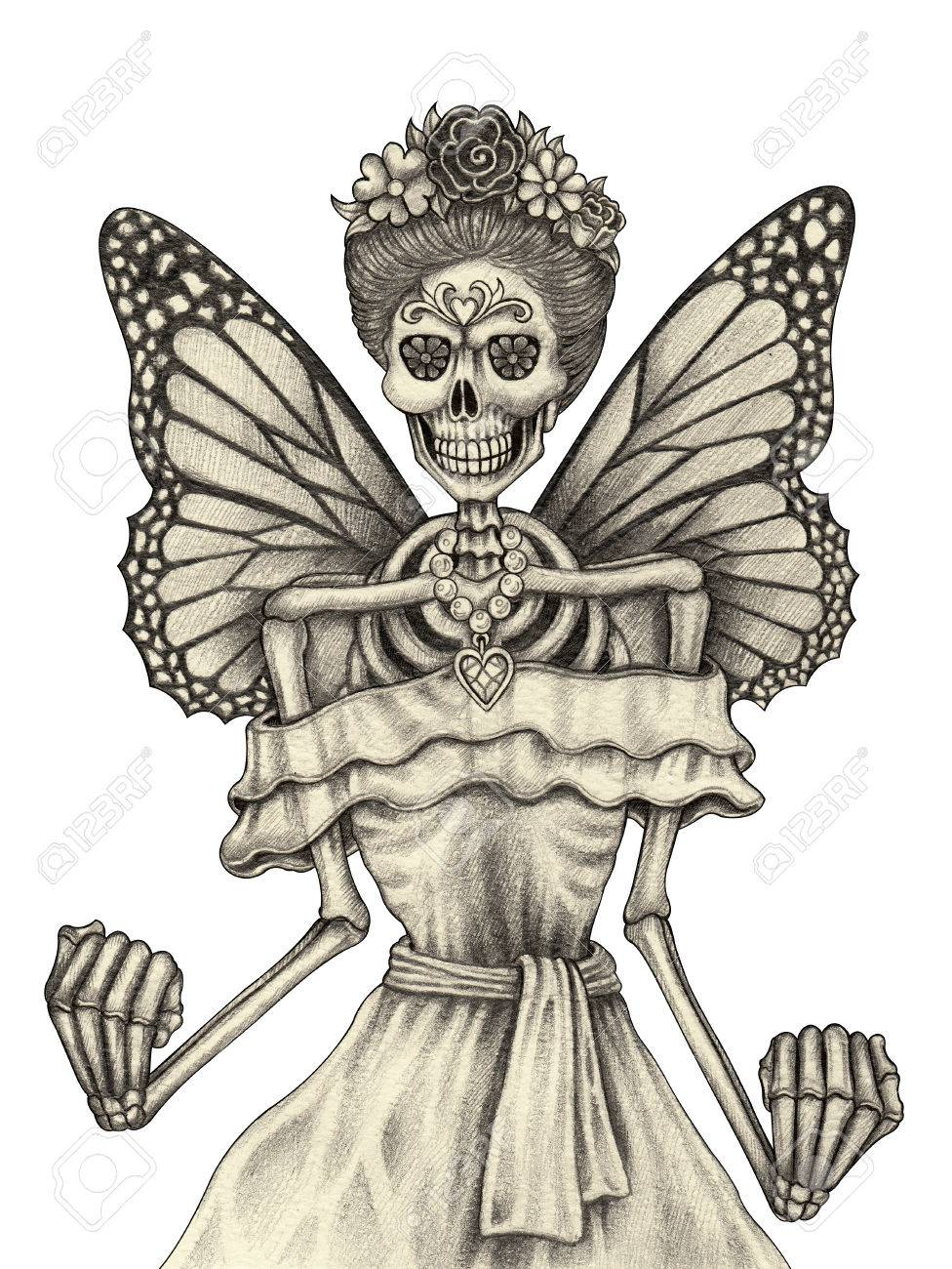 Skull fairy day of the dead hand pencil drawing on paper stock photo