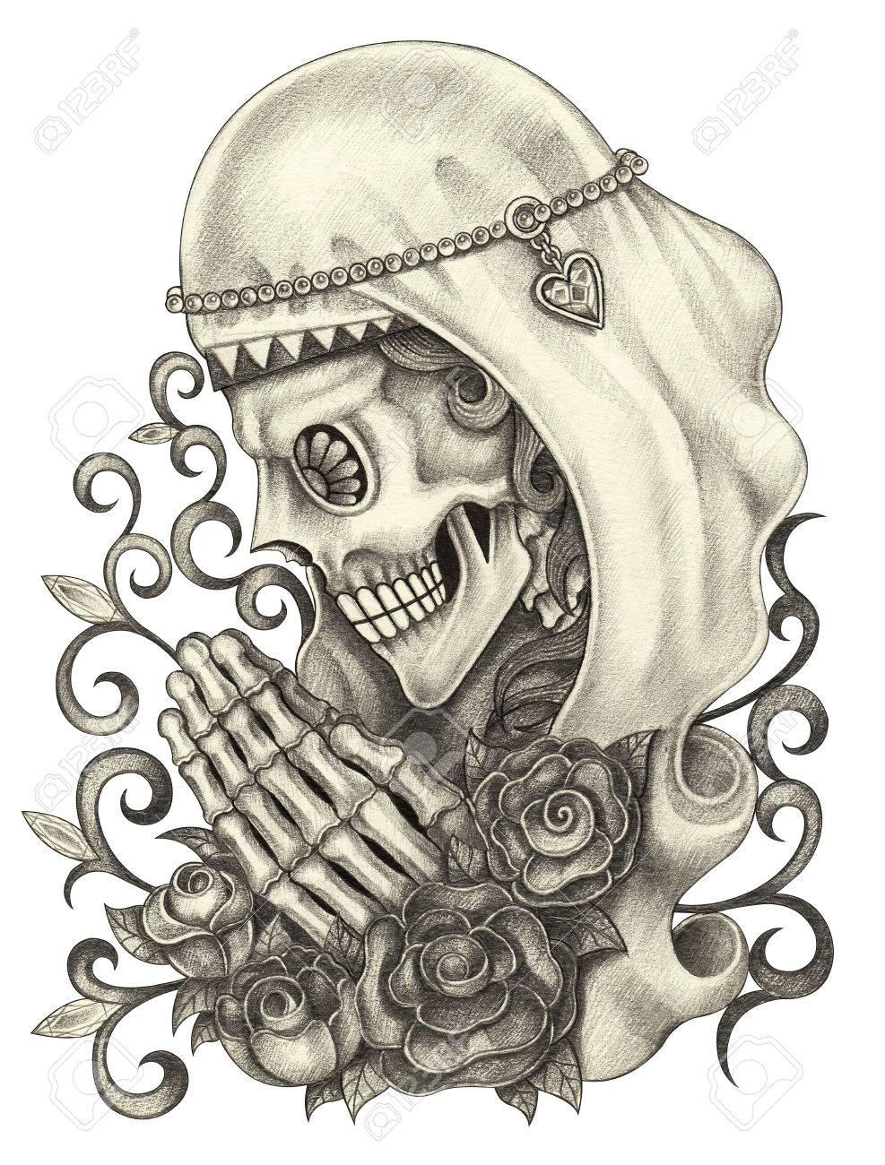 Día Del Cráneo Del Arte De Los Muertos Mano Dibujo A Lápiz Y La