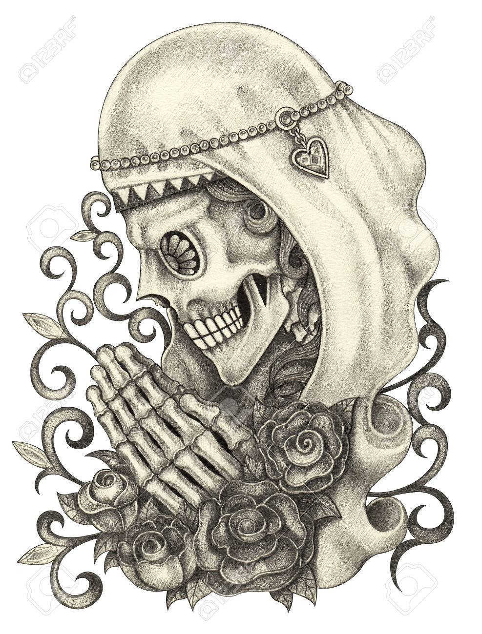 Skull art day of the dead hand pencil drawing and color painting on paper