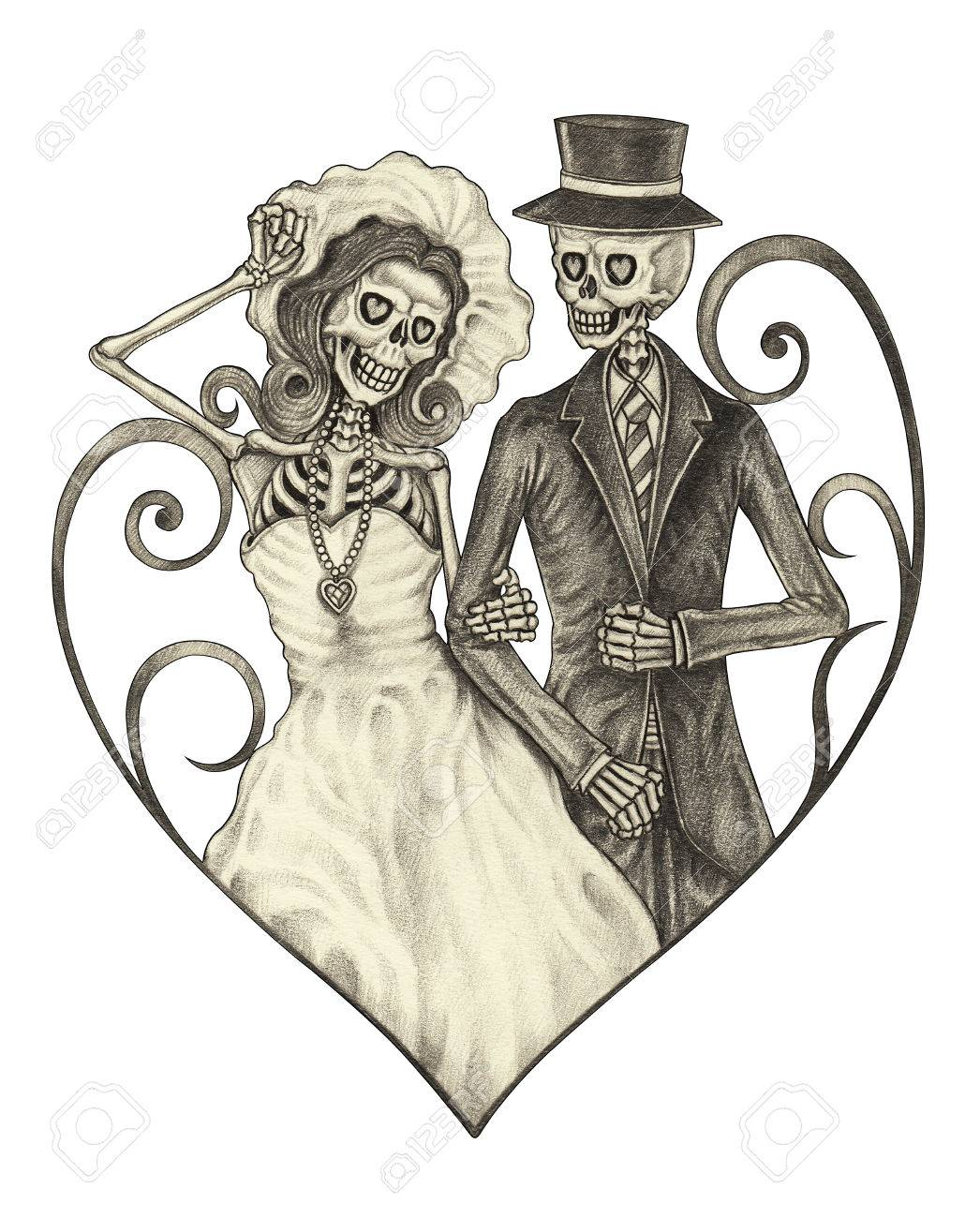 9d76106f0 Art design skull wedding in love action smiley face day of the dead  festival hand pencil