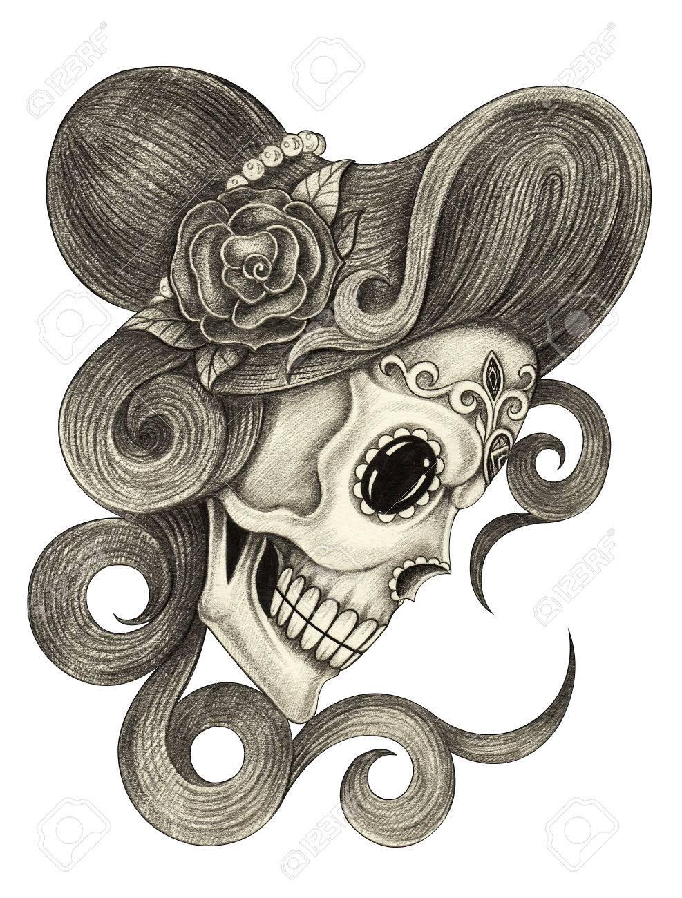 Día De Arte Las Mujeres Del Cráneo De Los Muertos Mano Dibujo A
