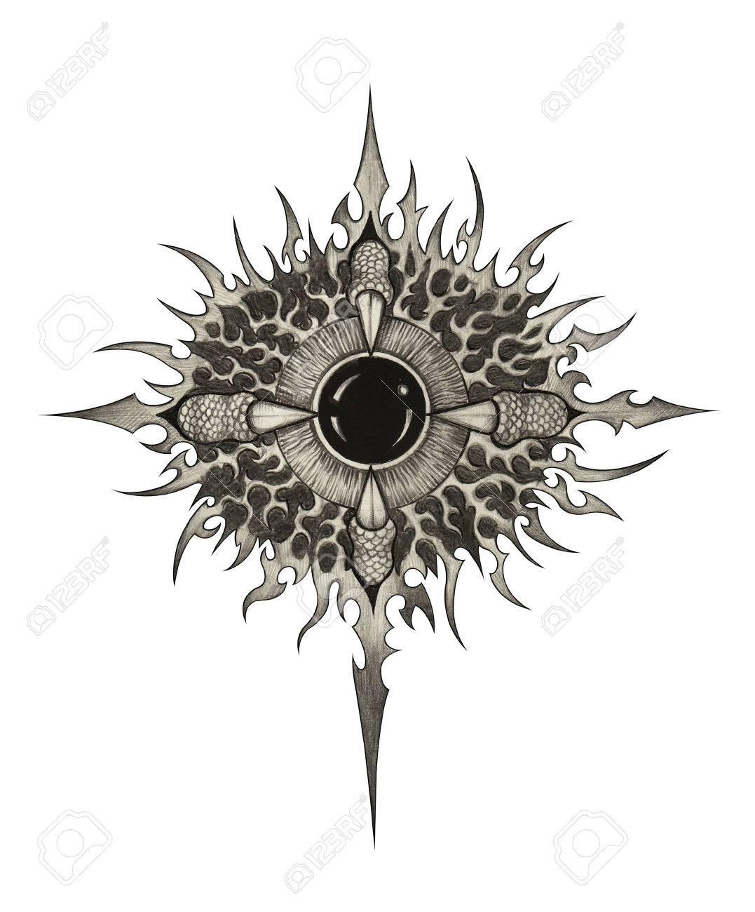 Art Surreal Eye Dragon Tattoo Hand Drawing On Paper Stock Photo Picture And Royalty Free Image Image 66798160