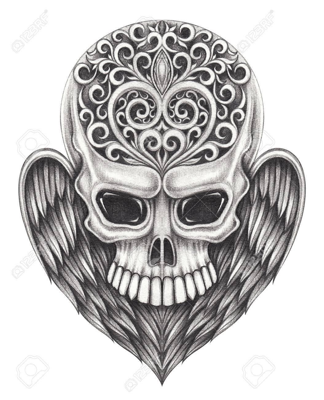 crâne ailes ange tattoo.hand __gvirt_np_nn_nnps<__ dessin au crayon