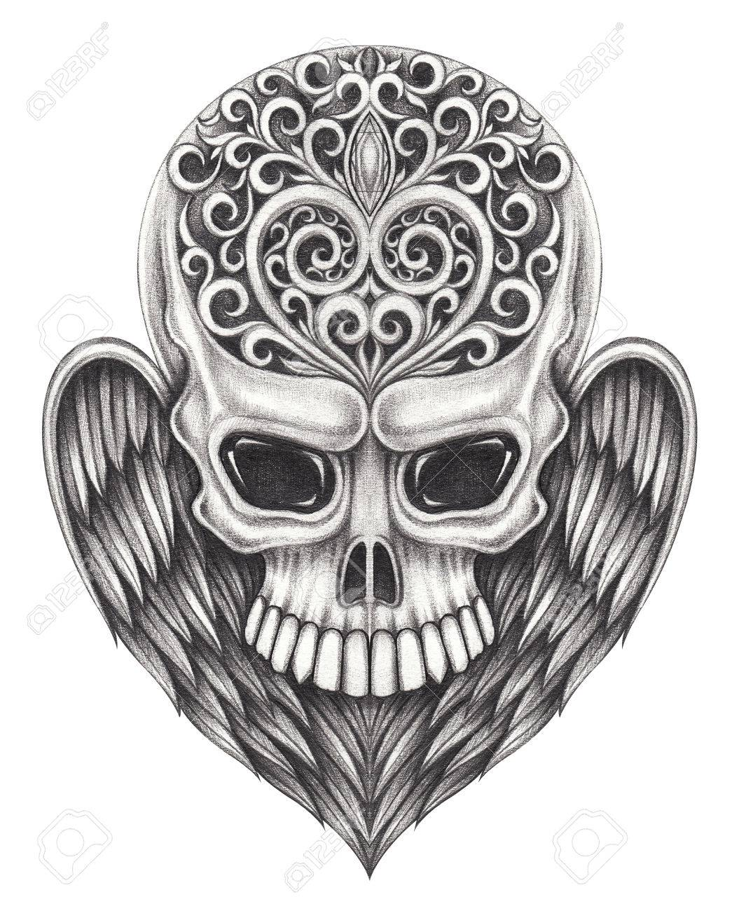 Skull wings angel tattoo hand pencil drawing on paper stock photo 66708291