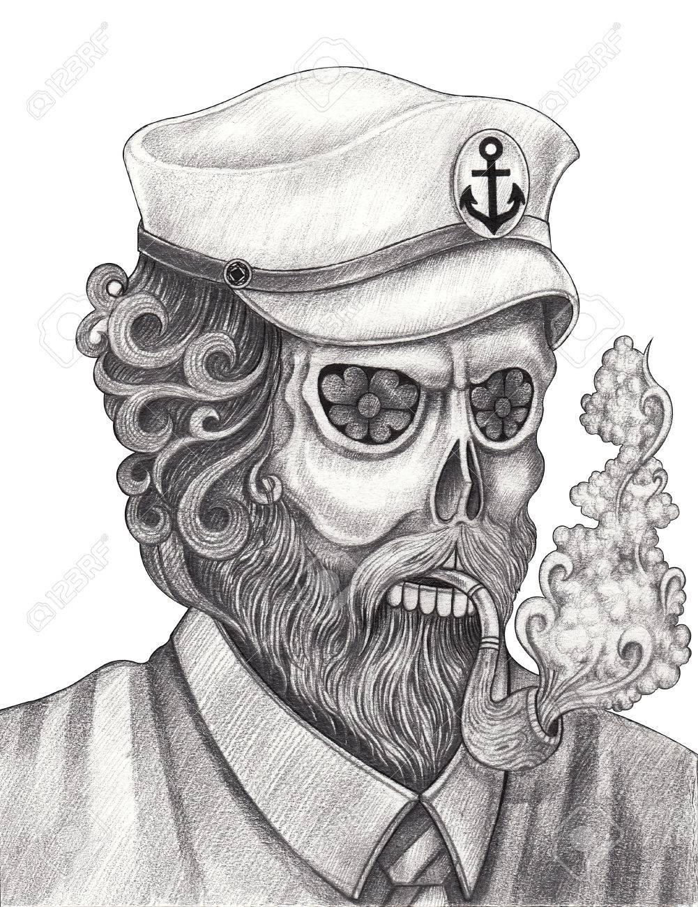 El Antiguo Arte Del Cráneo Del Hombre Día De Los Muertos Mano