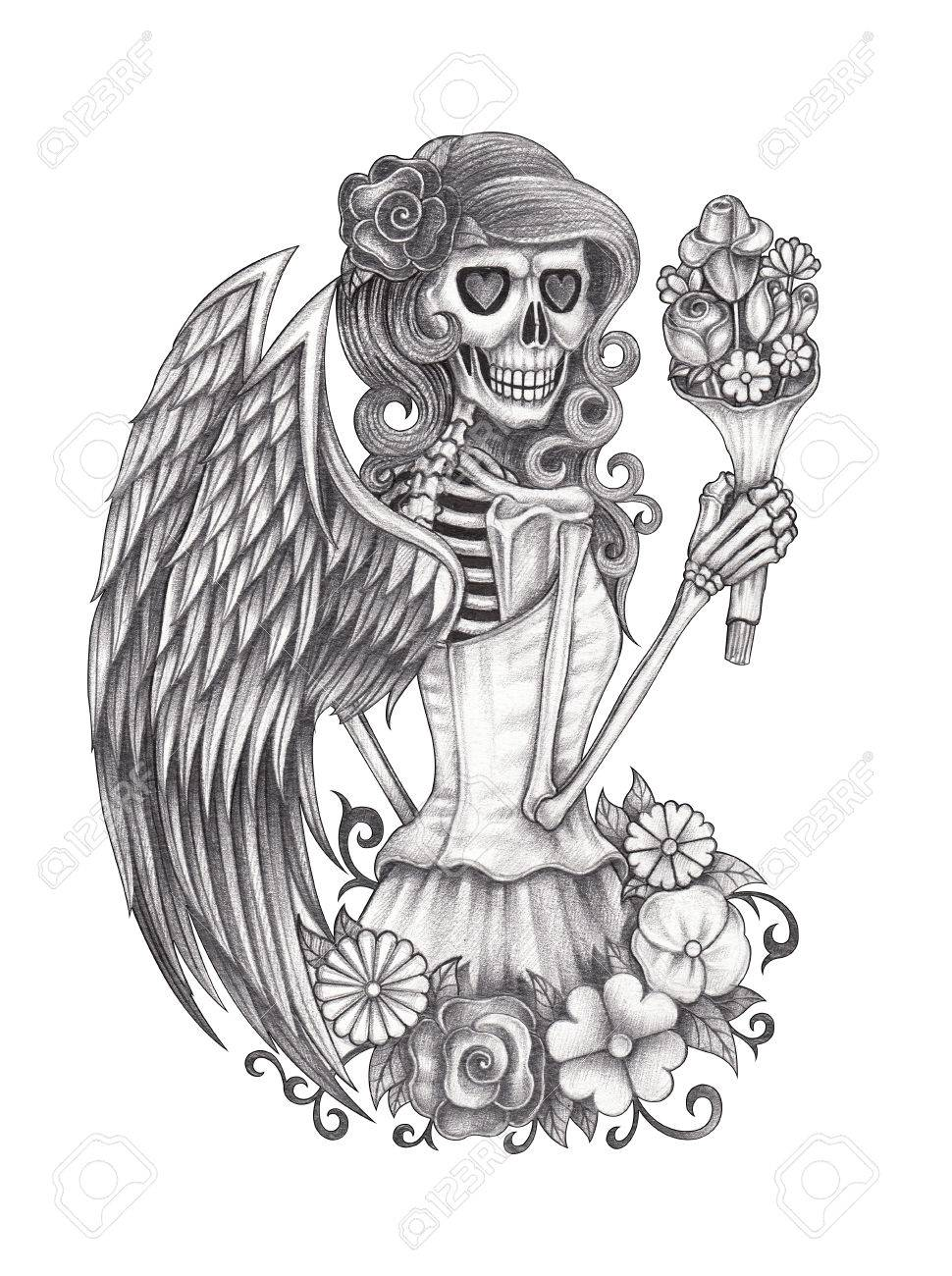 Skull Angel Hand Pencil Drawing On Paper Stock Photo Picture And