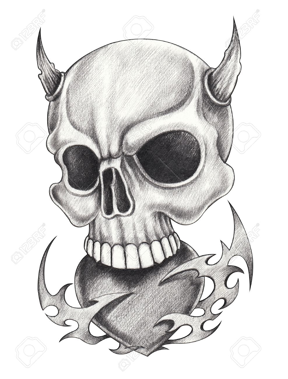 Art Devil Skull Tattoo Hand Pencil Drawing On Paper Stock Photo