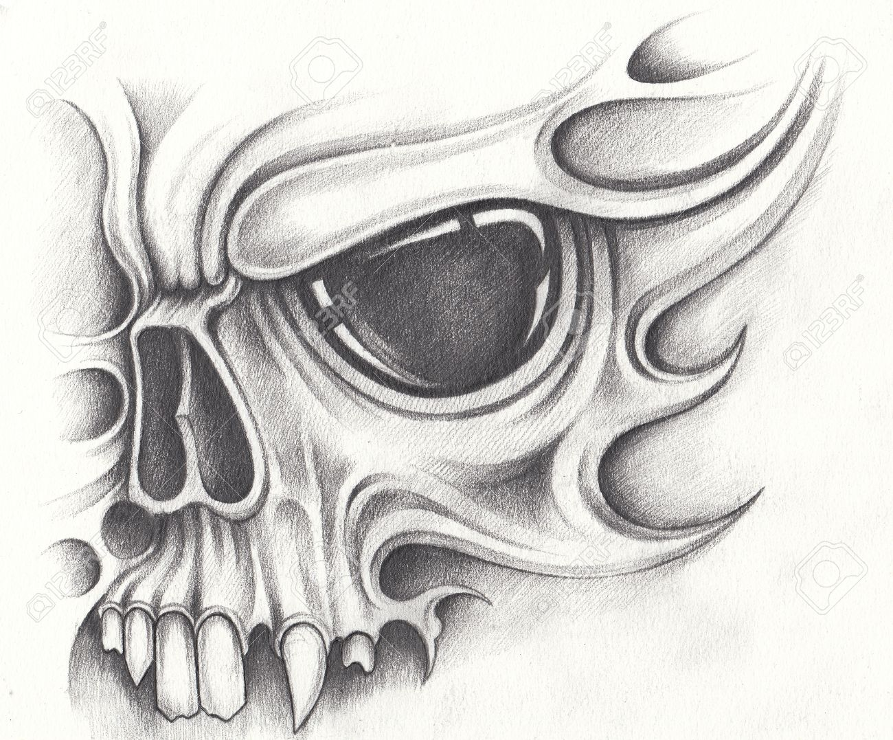 Art skull surreal tattoo hand pencil drawing on paper stock photo 71979038