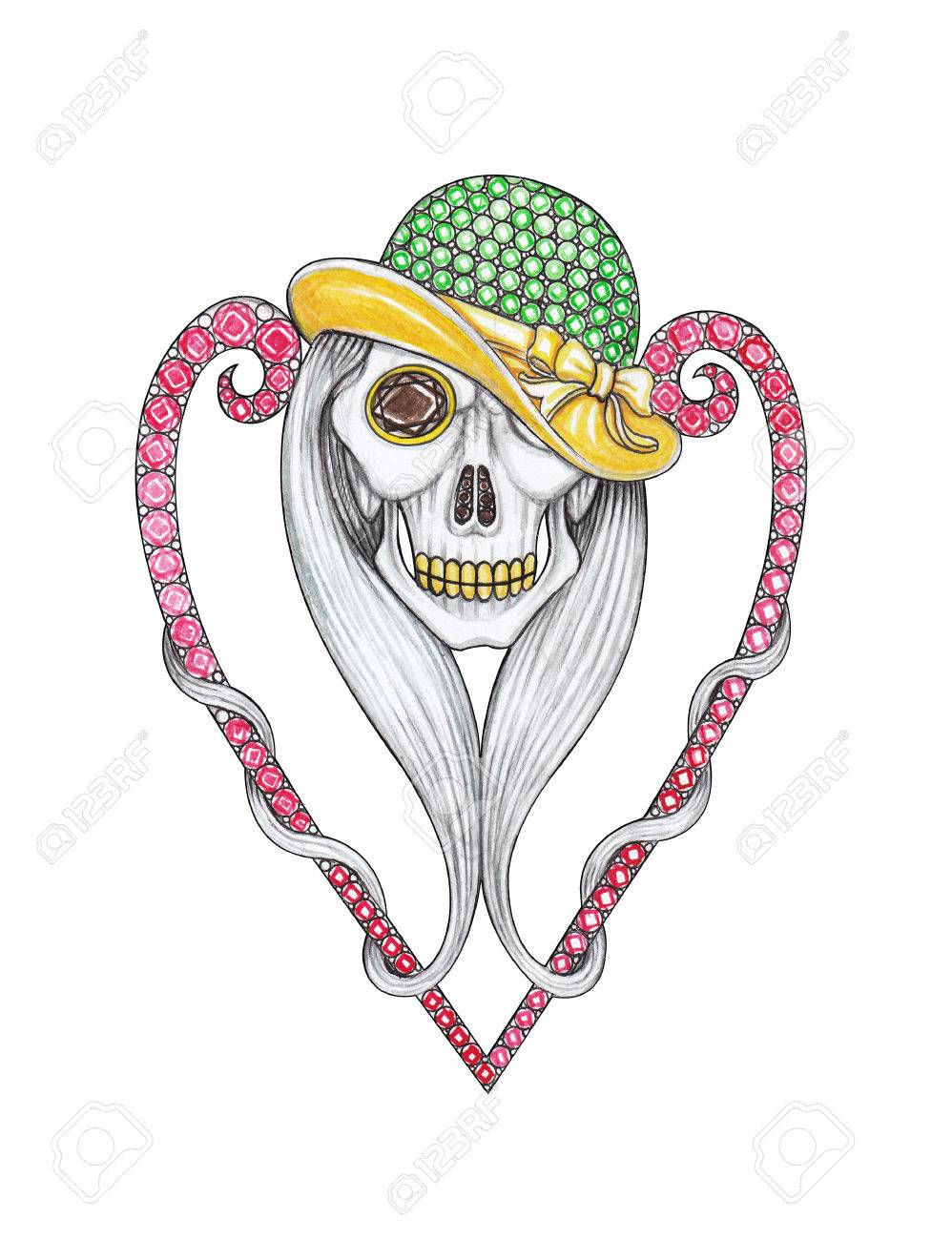 Jewelry Design Skull Mix Heart. Hand Drawing On Paper. Stock Photo ...
