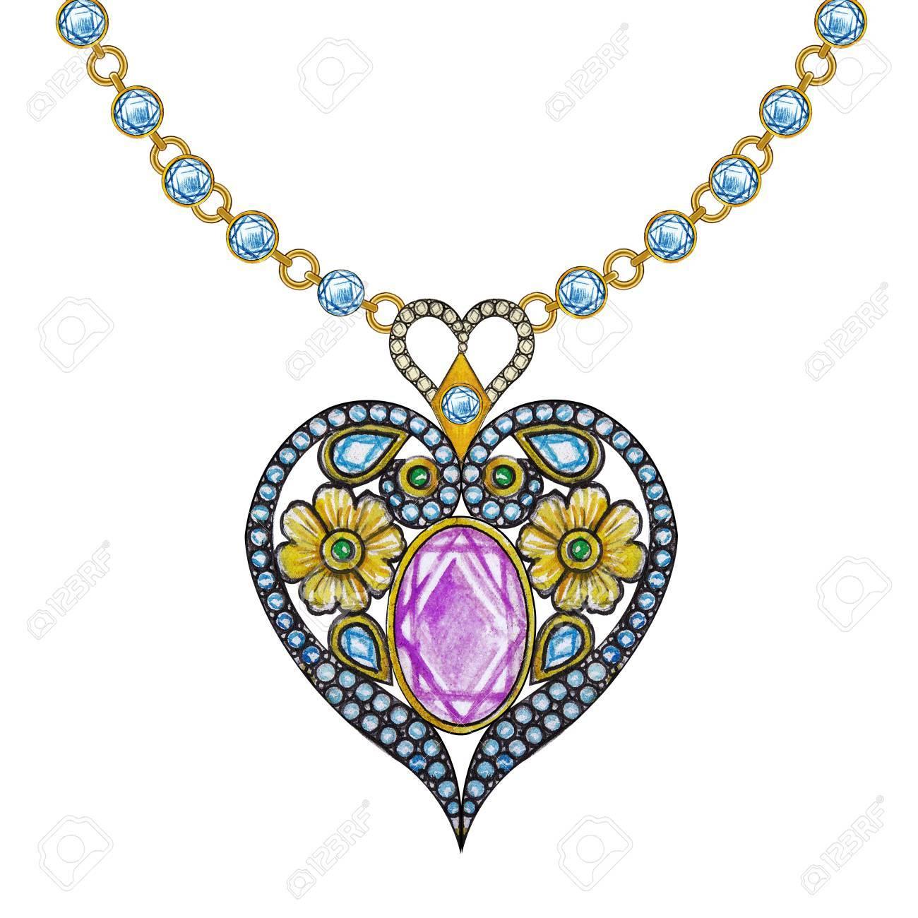 Bijoux Dessin ensemble de bijoux coeur collier. dessin à la main et peinture sur