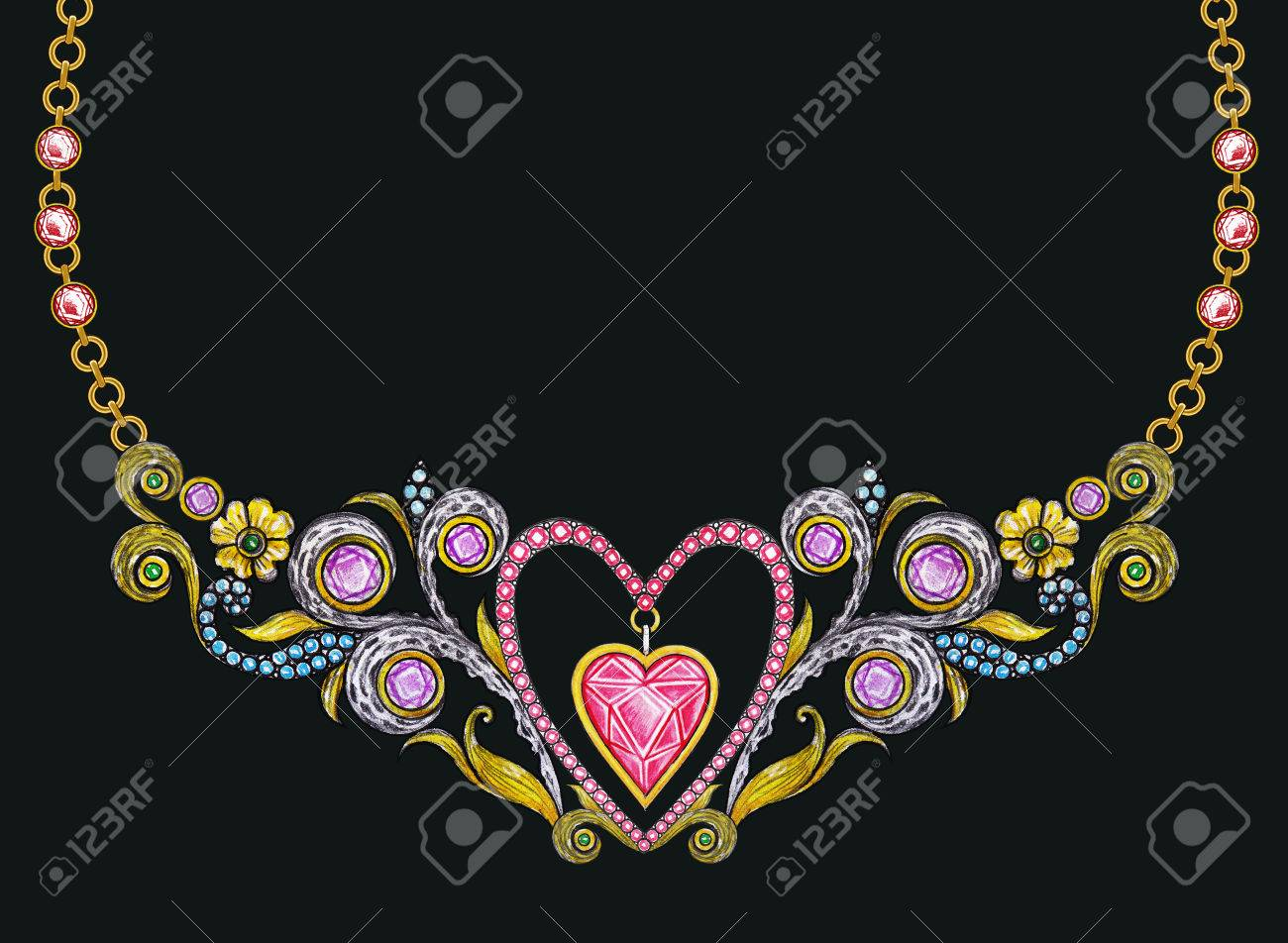 Jewelry Design Vintage Art Mix Heart Necklace Hand Pencil Drawing
