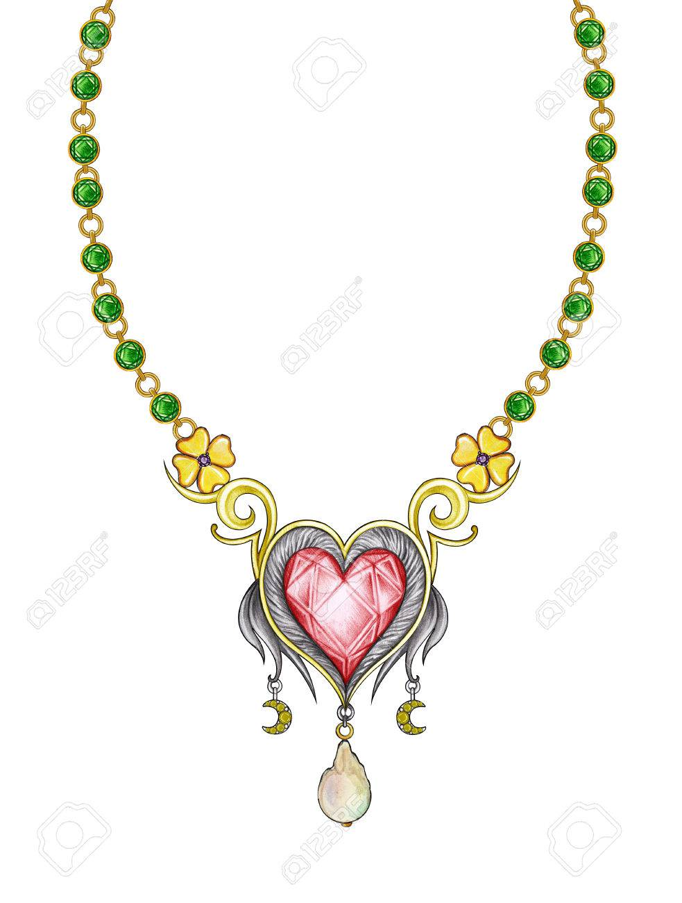 Jewelry design heart necklace hand pencil drawing and painting on paper stock photo