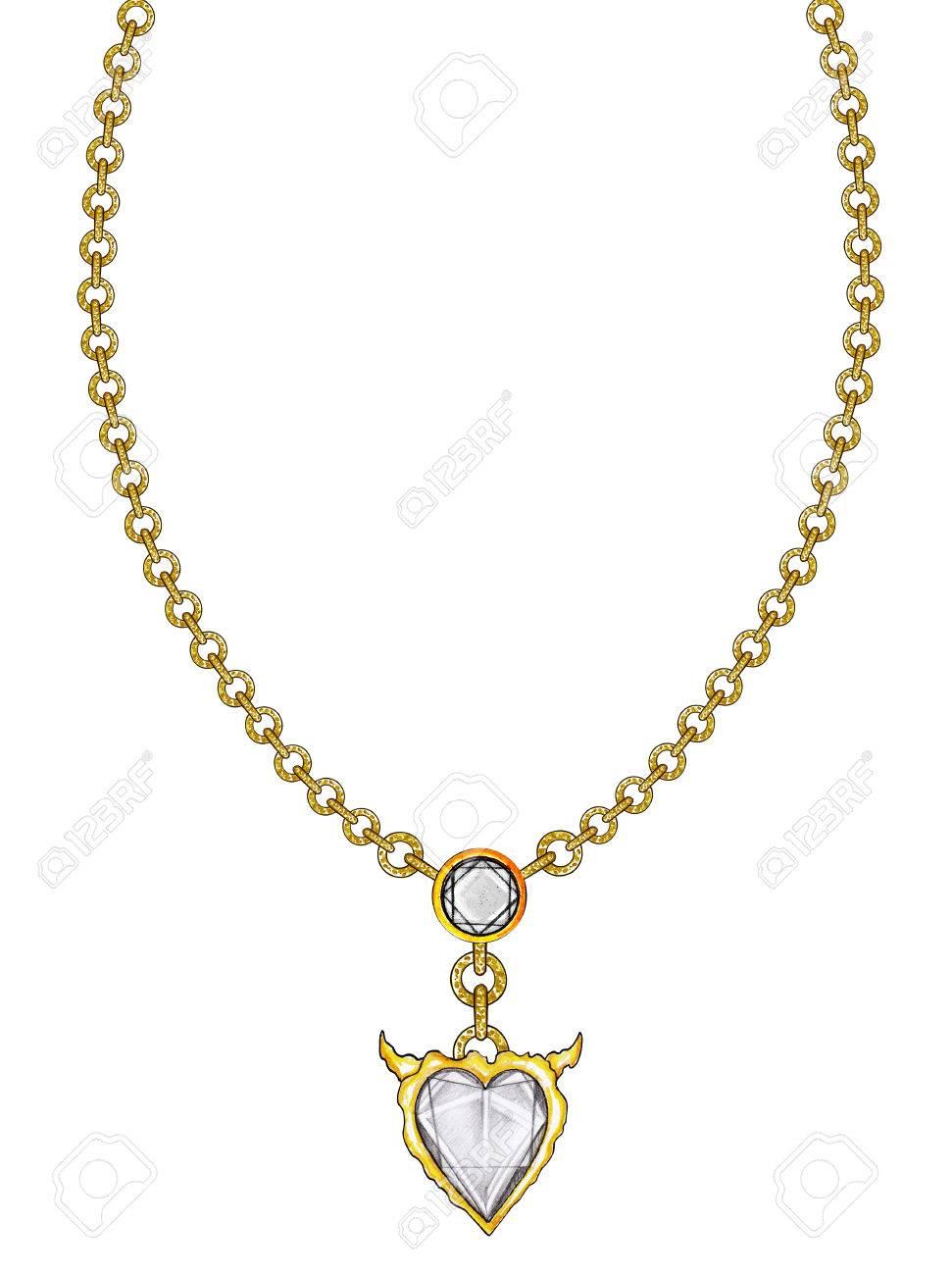super populaire c10a5 7fecf Ensemble de bijoux coeur collier. Dessin à la main et peinture sur papier.