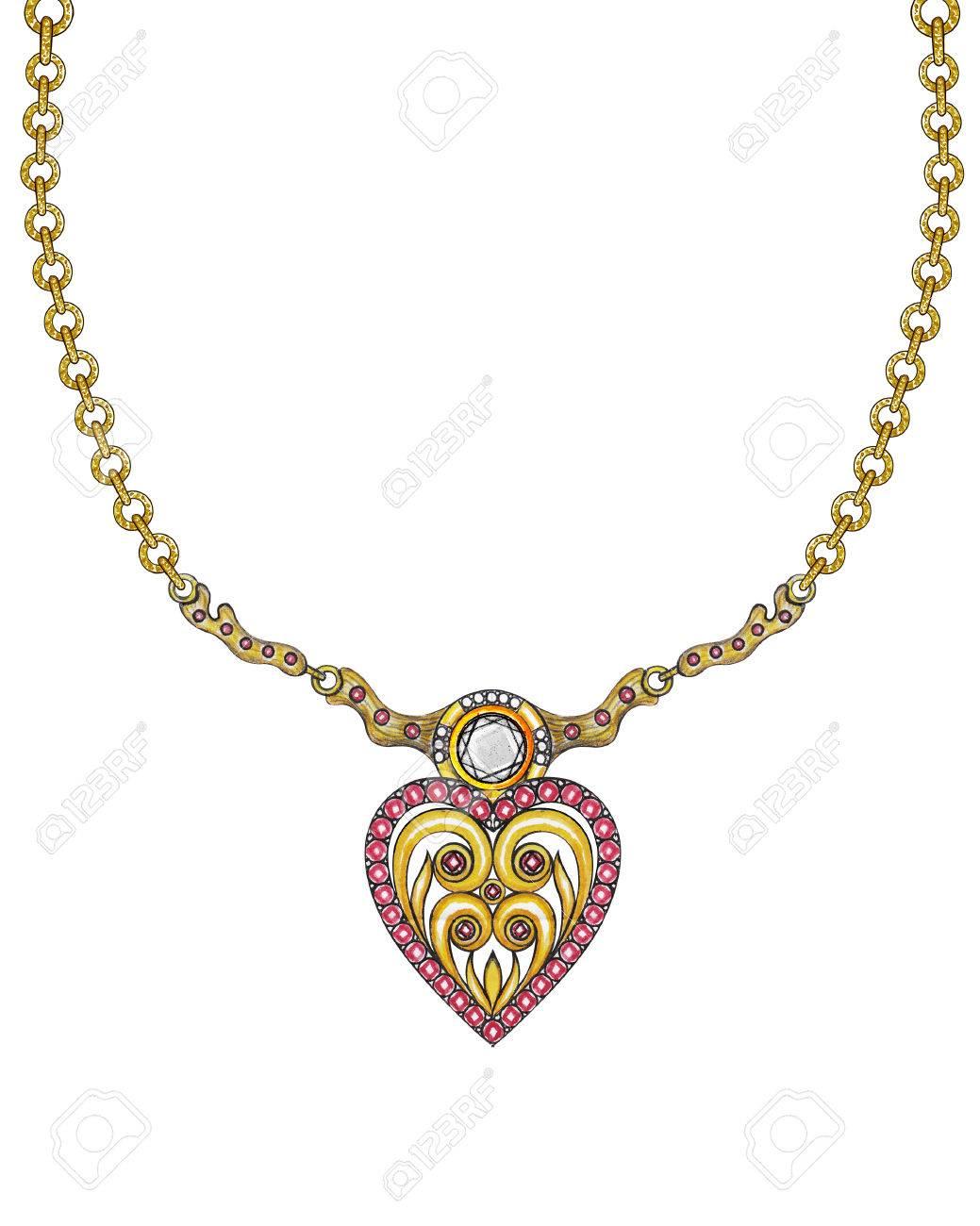 vendido en todo el mundo seleccione para el último cómo hacer pedidos Collar de la joyería Diseño del corazón. Dibujo de la mano y la pintura en  el papel.