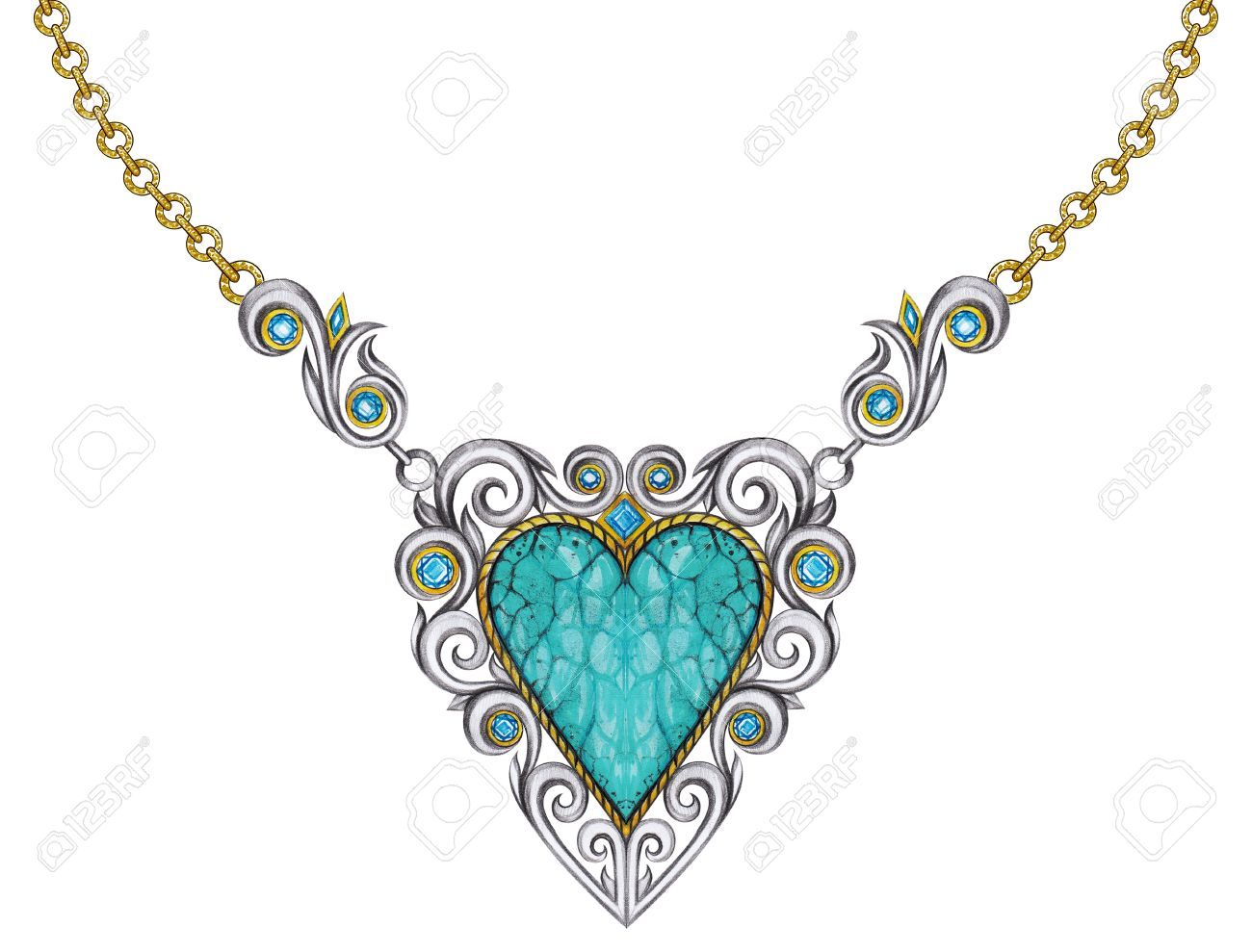 Jewelry design vintage art mix heart necklace hand pencil drawing and painting on paper