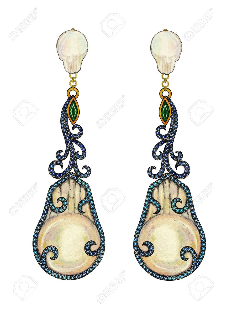 earrings art treasures in mother with of deco pearl gold roberto and coin drop diamond rose product tiny