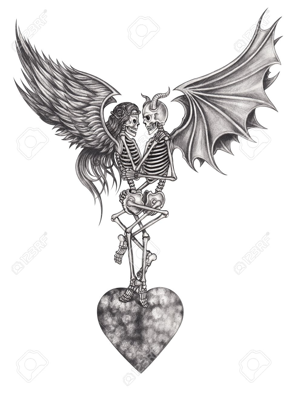 Devil and angel skull make love hand pencil drawing on paper stock photo
