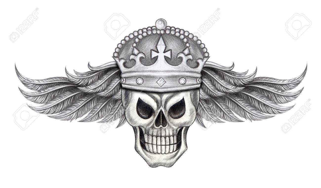 072c0f91819f9 Wings King Skull Tattoo.Hand Pencil Drawing On Paper. Stock Photo ...